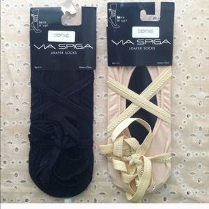 "Via Spiga Ballerina "" Lace it Up "" Loafer Sock"