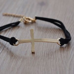 Black Bracelet With Gold Cross