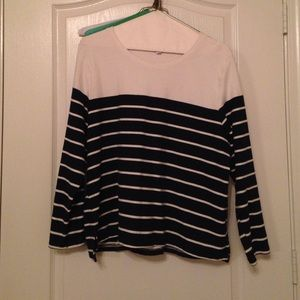 GAP Tops - GAP Navy and Cream Striped Shirt