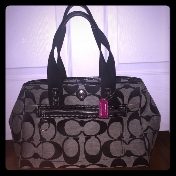 6f6c8b98532 Coach Bags | Black And Grey Purse With Hot Pink Interior | Poshmark