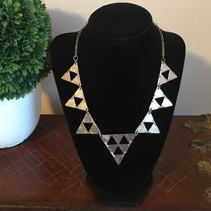 Silver Triangle Statement Necklace