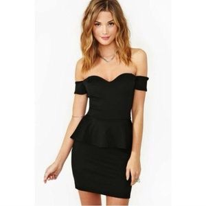 Black Off The Shoulder Peplum Dress ❤️