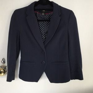 H&M Jackets & Blazers - H&M navy blue cropped fitted blazer