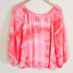 NEW Kenar Pink White Flowy Tie Dye Chiffon Top
