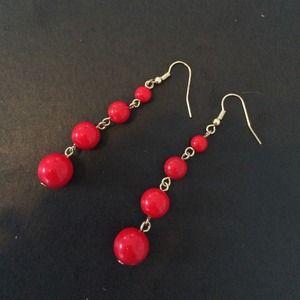 Jewelry - Red Graduated Bead Earrings