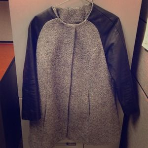 Topshop wool/leather coat