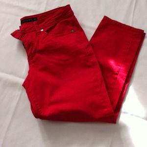 Red Calvin Klein Skinny crop jeans