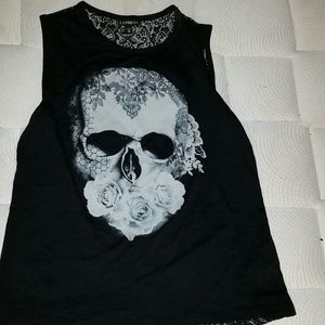 Express xs skull lace back top