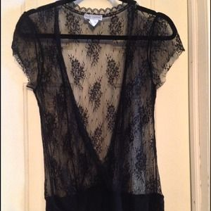 Body Central Tops - Black Lace Short Sleeve Shirt