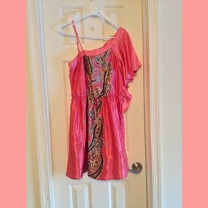 ❌SOLD❌ Coral/Pink Paisley One Shoulder Dress