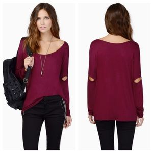 Tobi slit sleeve top- new