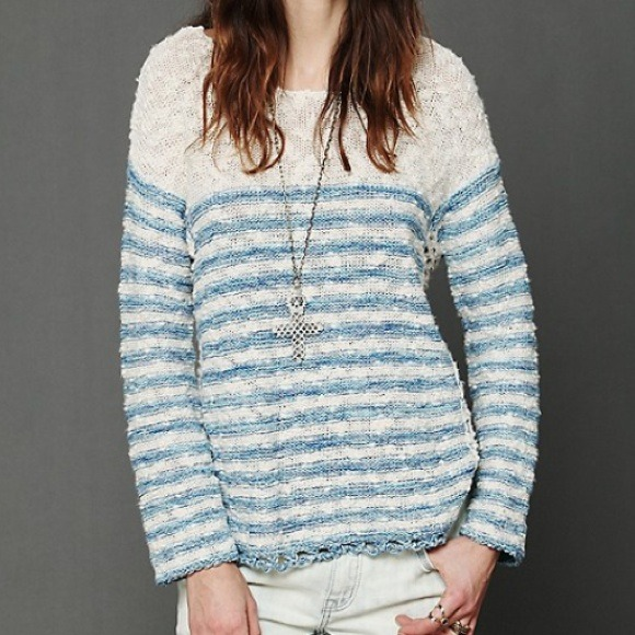 Free People Sweaters - Free People Striped In Crochet Pullover