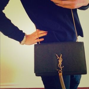ysl chyc clutch black - 43% off Yves Saint Laurent Handbags - YSL Saint Laurent tassel ...