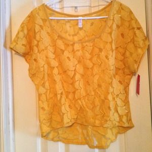 Yellow Lace High Low Shirt