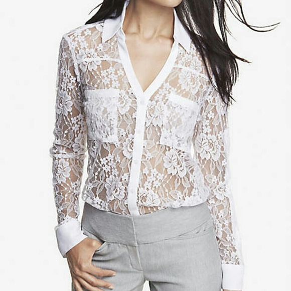 18 Off Express Tops 🍒express Lace Portofino Shirt🍒 From