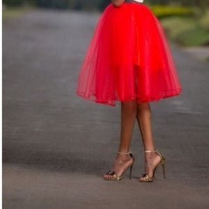 New Red Tulle Skirt❤️