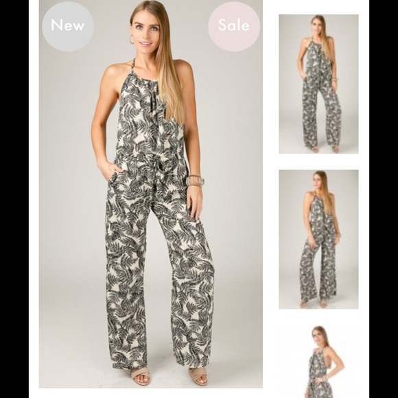 sale usa online outlet on sale big selection Black and white Palm tree jumpsuit