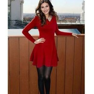 Brand new red sweater dress w/ sequin collar M