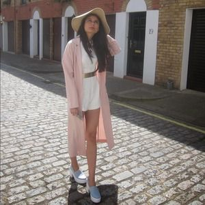 Pink Asos Duster Trench Coat Seen On Kylie Jenner