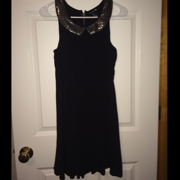 Forever 21 Dresses Black Dress With Silver Sequined Collar Poshmark