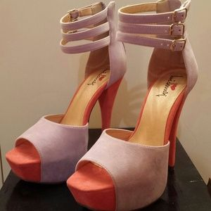 Purple & peach heels- almost new, wore once