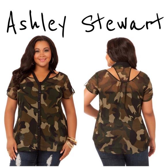fc0ac0e531bc2 Ashley Stewart Camo Cutout Cold Shoulder Top 3X