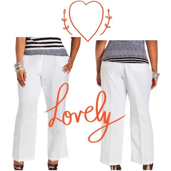 132b64f392a6f Ashley Stewart White Linen Pants New 18