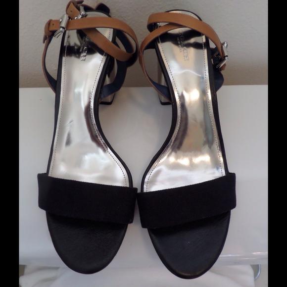848a30a71e50 COACH Black   Silver Pascal Strappy Sandals Sz 10