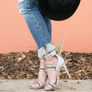 Zipper ankle strappy sandal heels