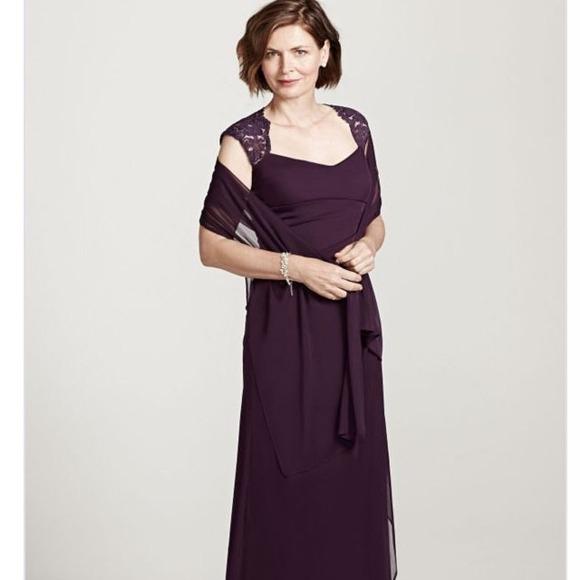 ebb996c35f David s Bridal Dresses   Skirts - Plum Lace Cap Sleeve Dress
