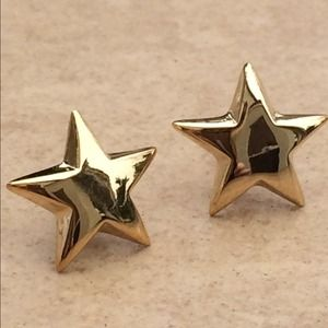 Jewelry - Gold Plated Sterling Silver 925 Star Stud Earrings