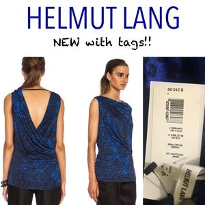 NWT Helmut Lang Blue Crossover Draped Viscose Top