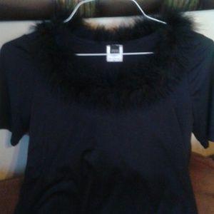 Black furry collar top