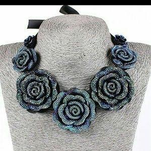 Rhinestone roses bib necklace NEW