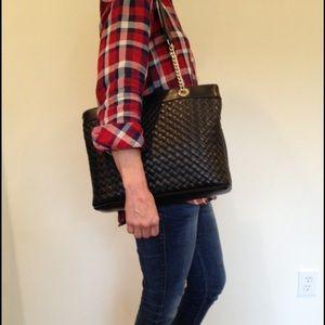 Black Jennifer Moore basketweave purse