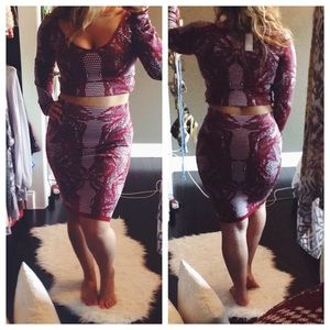 Printed Skirt & Crop Top SET