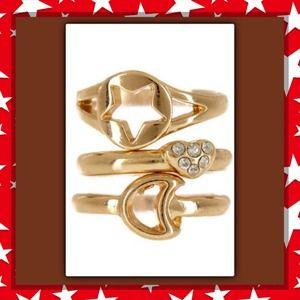 Jewelry - 🎄New Star, Moon, & Heart Midi Ring Set.