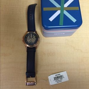 Men's Gold with Blue Leather Straps Fossil Watch