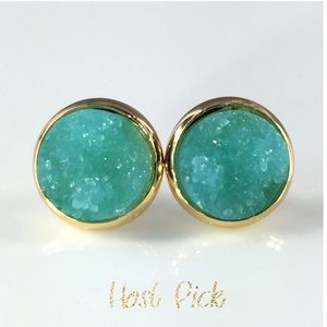 thejeweladdict Jewelry - 3 for 15🎀chunky Aqua Drusy style gold studs