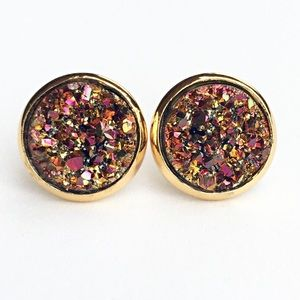 thejeweladdict Jewelry - 3 for 15🎀chunky copper-pink Drusy style  studs