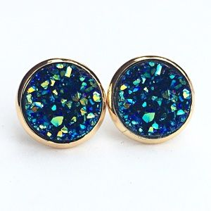 thejeweladdict Jewelry - 3 for 15🎀chunky blue Drusy style gold studs
