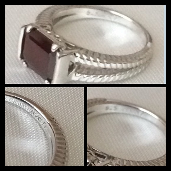 38 nvc jewelry sterling silver garnet ring from