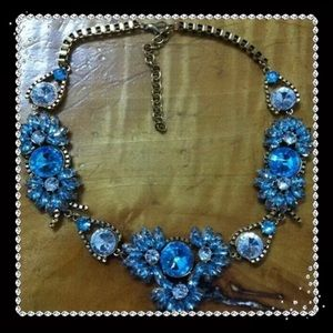 NWT Blue Crystal Statement Necklace/Choker/Bib
