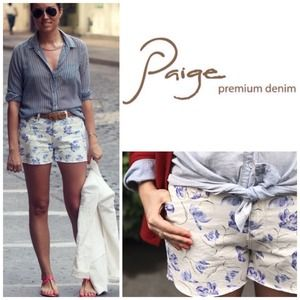 Paige Floral Cutoff Denim Shorts.  NWT.
