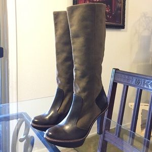 BCBGMAXAZRIA olive & brown knee high boots