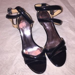 Black Coach wedge patent leather wedges