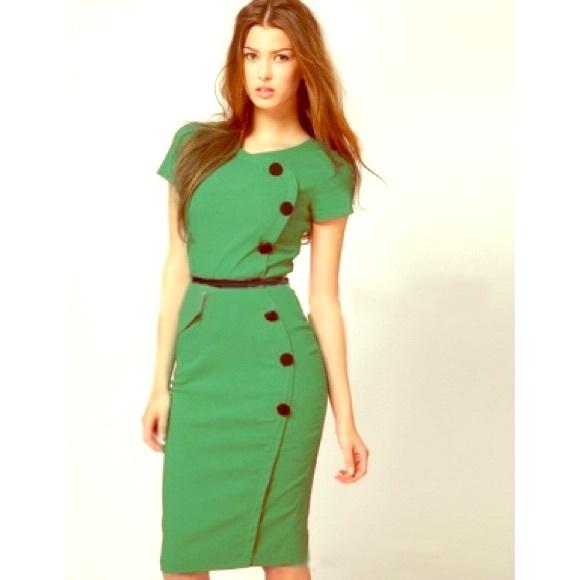 Independent Designer Dresses Womens Green Solid Kneelength