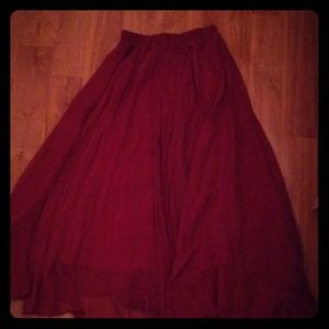 wine red long skirt
