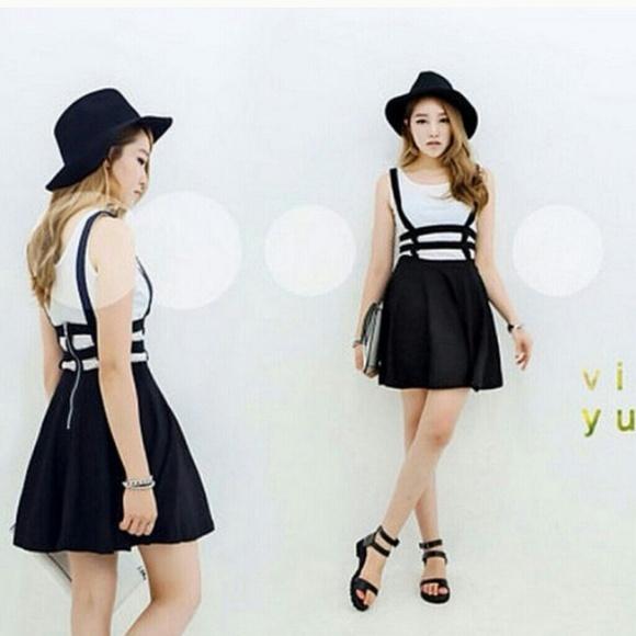 The ARIA Black Preppy Girl Suspender Skirt/ Dress