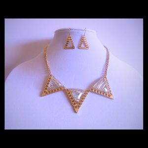 Gold triangle necklace with earrings